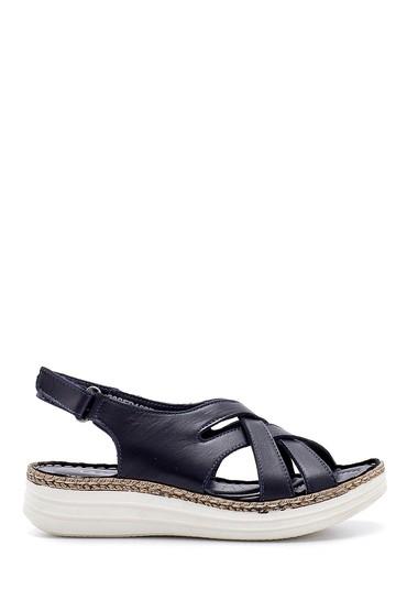 Lacivert Kadın Deri Sandalet 5638195396