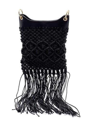Siyah Kadın Örgü Püskül Detaylı Çanta 5638158370