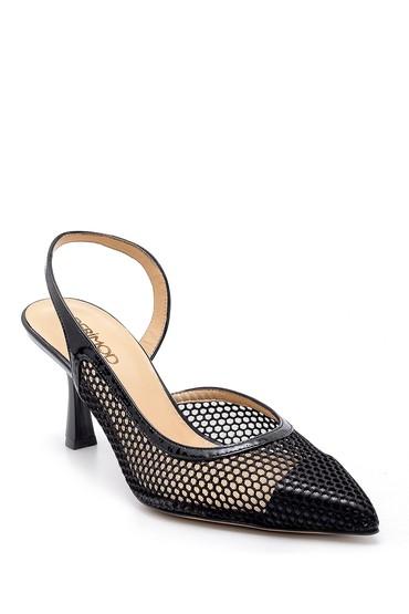 Siyah Kadın Deri Topuklu Ayakkabı 5638165726