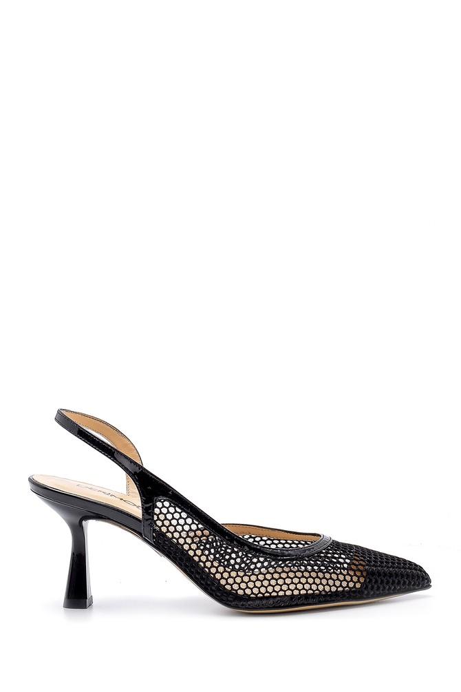 Siyah Kadın Deri Topuklu Ayakkabı 5638165730