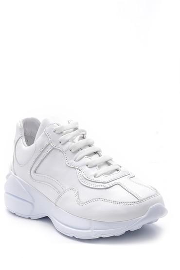 Beyaz Kadın Deri Sneaker 5638167636