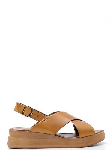 Kahverengi Kadın Deri Sandalet 5638161633