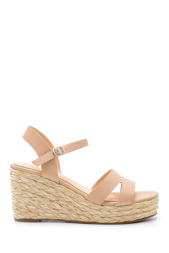 Bej Kadın Dolgu Topuklu Sandalet 5638128854