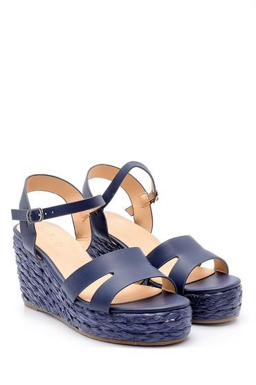 Lacivert Kadın Dolgu Topuklu Sandalet 5638128860