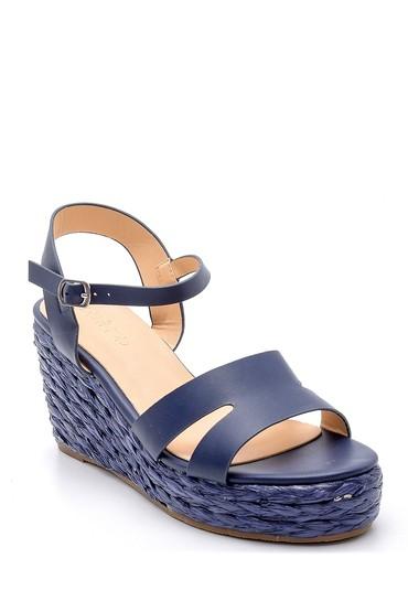 Lacivert Kadın Dolgu Topuklu Sandalet 5638128852
