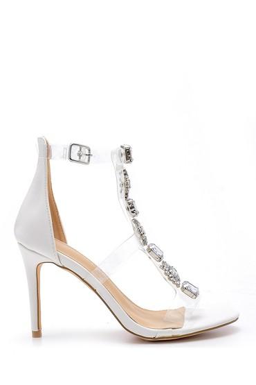 Beyaz Kadın Taş Detaylı Şeffaf Bantlı Topuklu Sandalet 5638129118