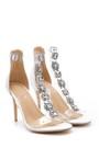 5638129118 Kadın Taş Detaylı Şeffaf Bantlı Topuklu Sandalet