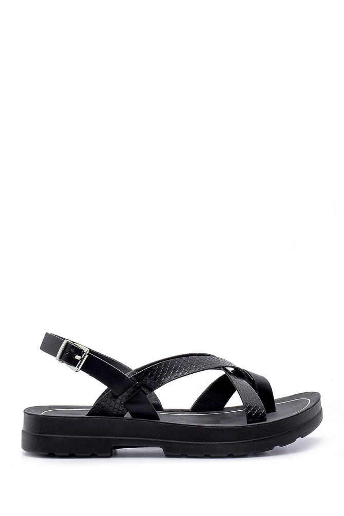 Siyah Kadın Yılan Derisi Desenli Sandalet 5638132500