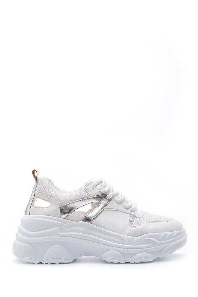 Beyaz Kadın Yüksek Tabanlı Sneaker 5638185605