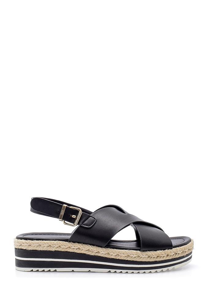 Siyah Kadın Hasır Detaylı Sandalet 5638192199