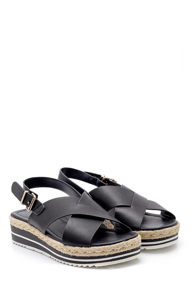 5638192199 Kadın Hasır Detaylı Sandalet