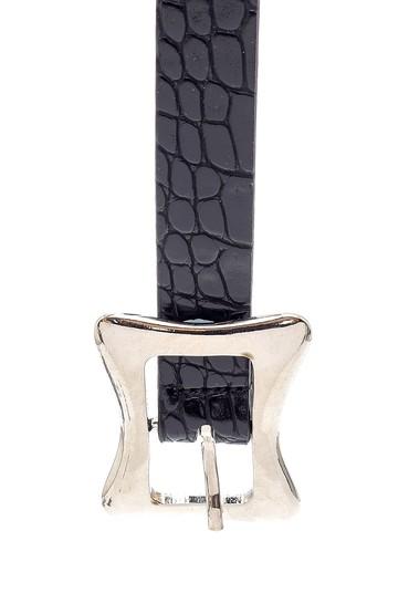Siyah Kadın Kroko Desen Kemer 5638158662