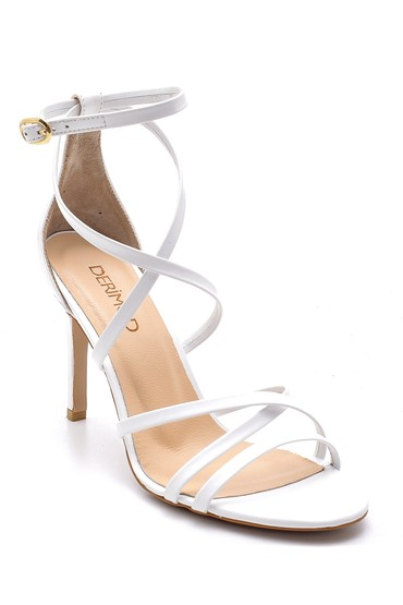 Beyaz Kadın Deri Topuklu Sandalet 5638163079