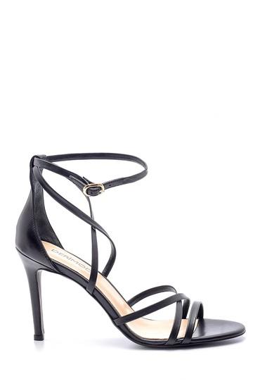 Siyah Kadın Deri Topuklu Sandalet 5638163077