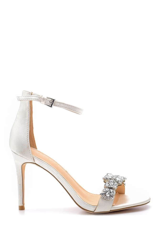 Gri Kadın Taş Detaylı Topuklu Sandalet 5638128927