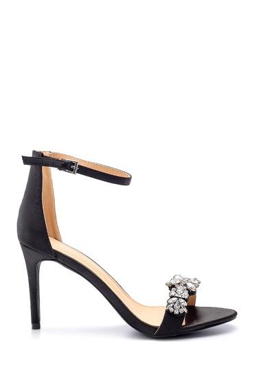 Siyah Kadın Taş Detaylı Topuklu Sandalet 5638128928