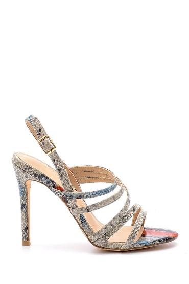 Mavi Kadın Yılan Derisi Desenli Topuklu Sandalet 5638129061