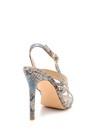 5638129061 Kadın Yılan Derisi Desenli Topuklu Sandalet
