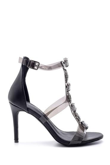 Siyah Kadın Taş Detaylı Şeffaf Bantlı Topuklu Sandalet 5638129117