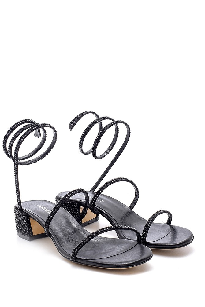5638163623 Kadın Süet Deri Taş Detaylı Topuklu Sandalet