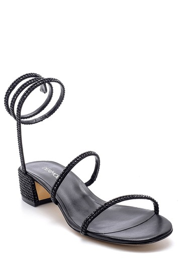 Siyah Kadın Süet Deri Taş Detaylı Topuklu Sandalet 5638163625