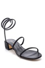 5638163625 Kadın Süet Deri Taş Detaylı Topuklu Sandalet