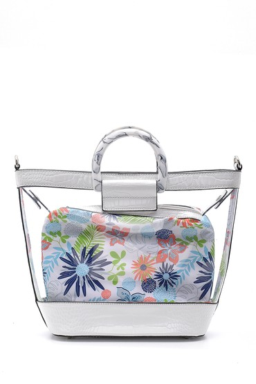 Beyaz Kadın Çiçek Detaylı Şeffaf Kol Çantası 5638162376