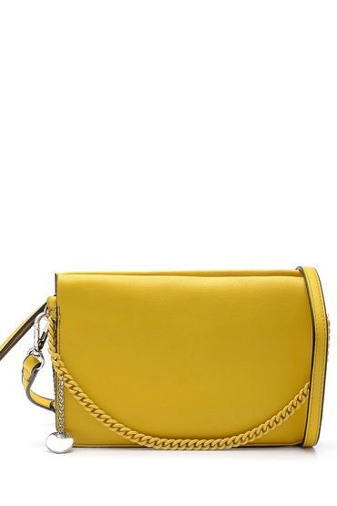 Sarı Kadın Yılan Derisi Desen Detaylı Omuz Çantası 5638150301