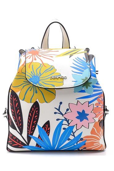 Beyaz Kadın Çiçek Desenli Sırt Çantası 5638151202