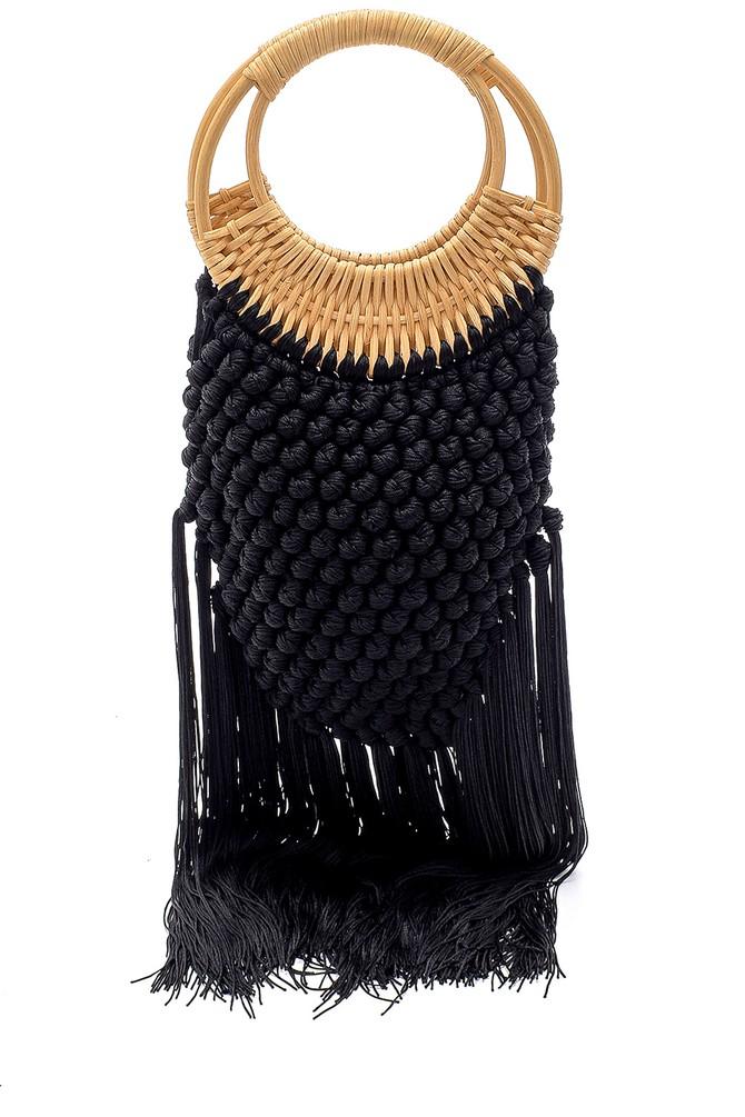 Siyah Kadın Örgü Püskül Detaylı Çanta 5638158347
