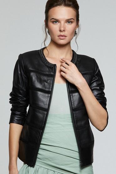 Siyah Celine Kadın Deri Ceket 5638114764