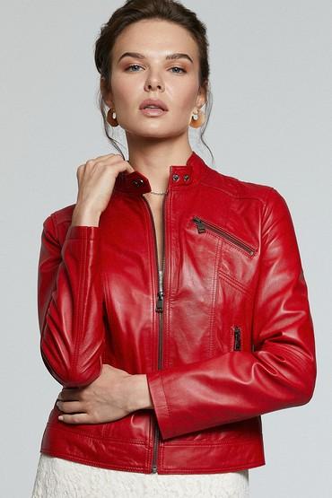 Kırmızı Kylie Kadın Deri Ceket 5638176448