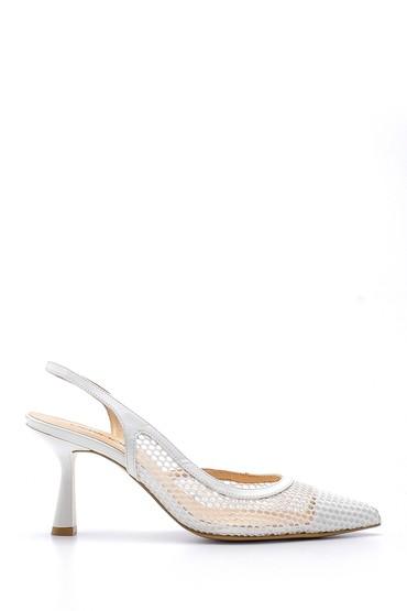 Beyaz Kadın Deri Topuklu Ayakkabı 5638165788
