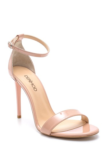 Bej Kadın Rugan İnce Topuklu Sandalet 5638166118