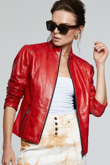 Kırmızı Riva Kadın Deri Ceket 5638180528