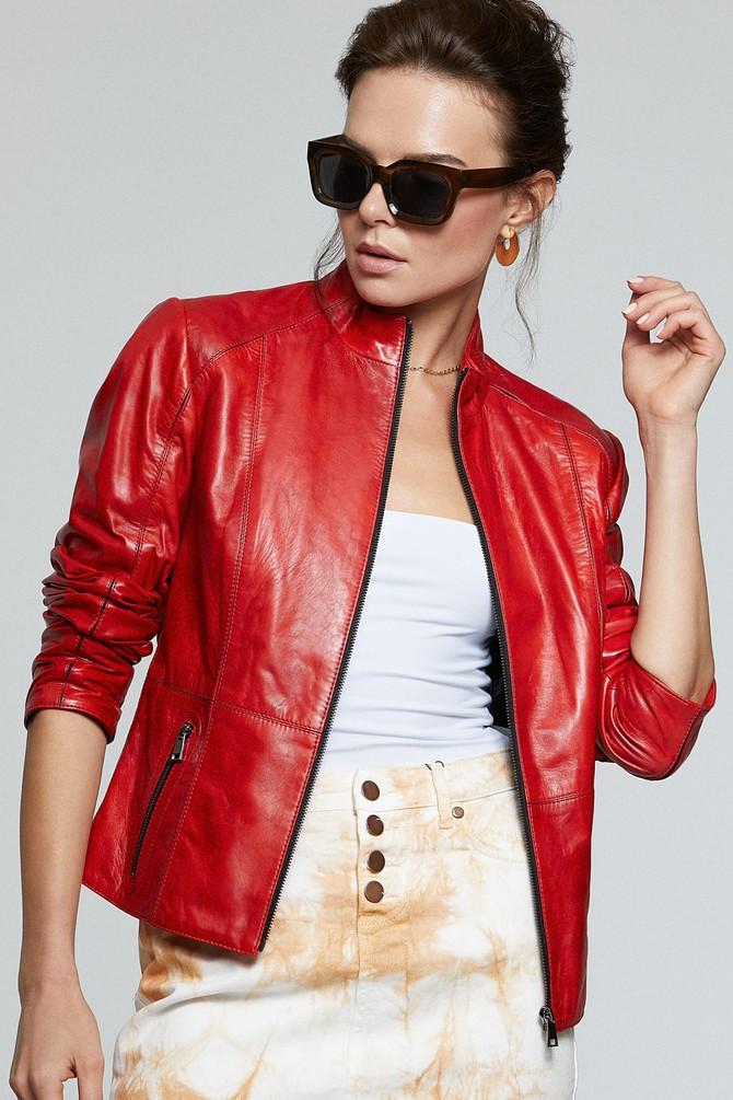 Kırmızı Riva Kadın Deri Ceket 5638180523