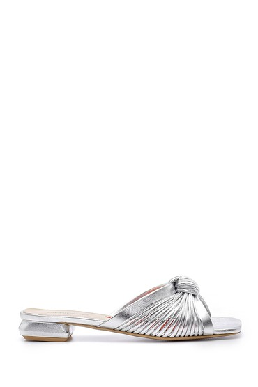 Gümüş Kadın Deri Metalik Terlik 5638163545