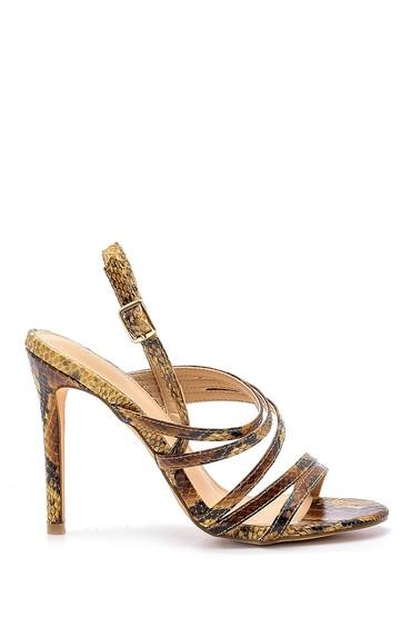 Sarı Kadın Yılan Derisi Desenli Topuklu Sandalet 5638129063