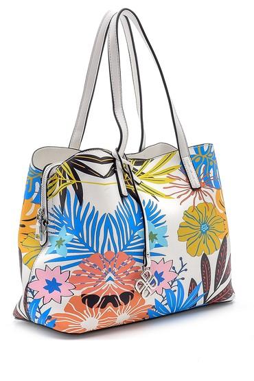Beyaz Kadın Çiçek Desenli Kol Çantası 5638162380