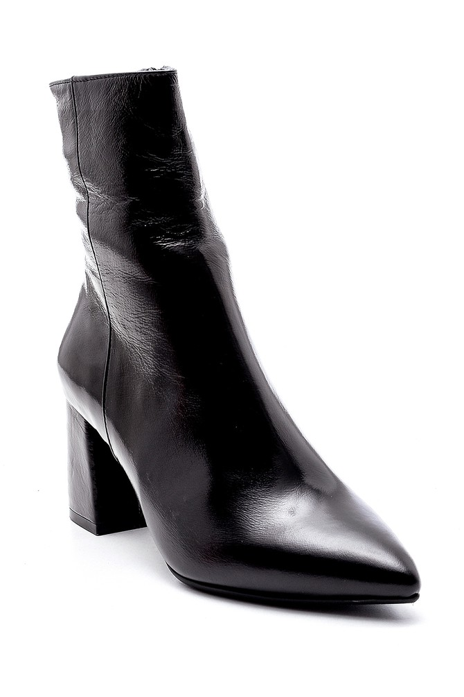 5638194589 Kadın Deri Rugan Topuklu Bot