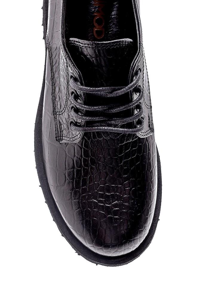 5638205849 Kadın Deri Kroko Detaylı Ayakkabı