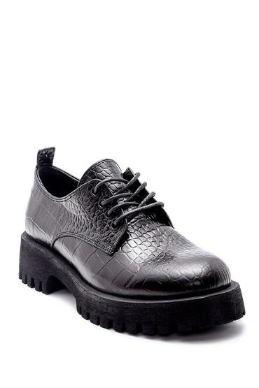 Siyah Kadın Deri Kroko Detaylı Ayakkabı 5638205849