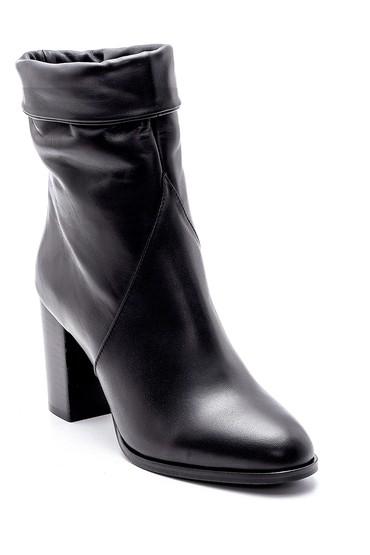 Siyah Kadın Deri Topuklu Bot 5638209677