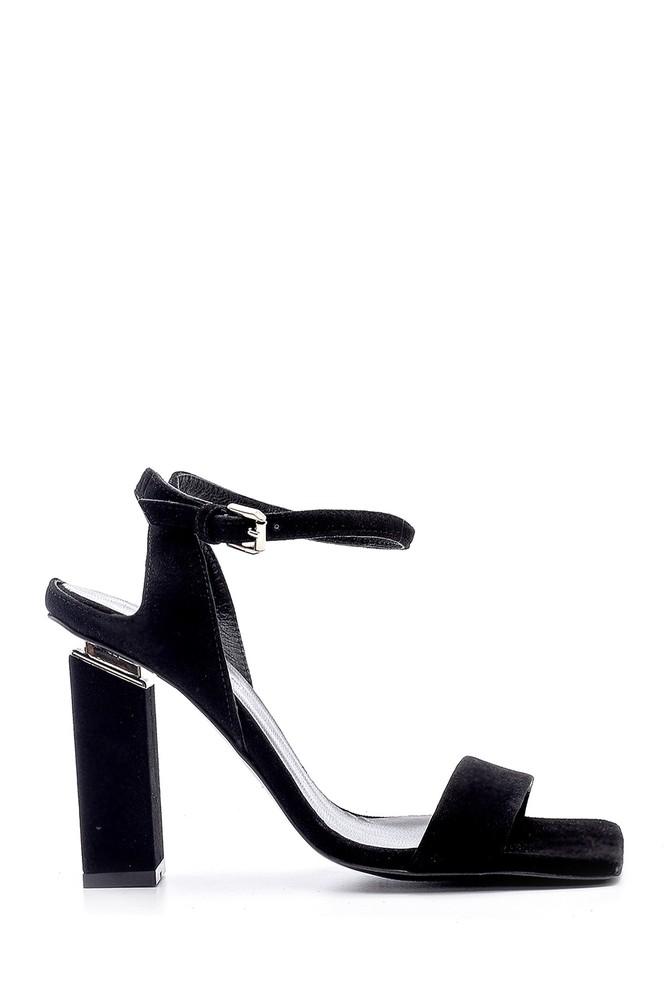 Siyah Kadın Süet Topuk Detaylı Sandalet 5638165706