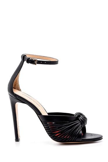 Siyah Kadın Deri Topuklu Sandalet 5638163677