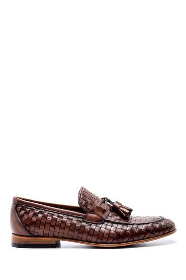 Kahverengi Erkek Deri Örgü Desen Loafer 5638189499