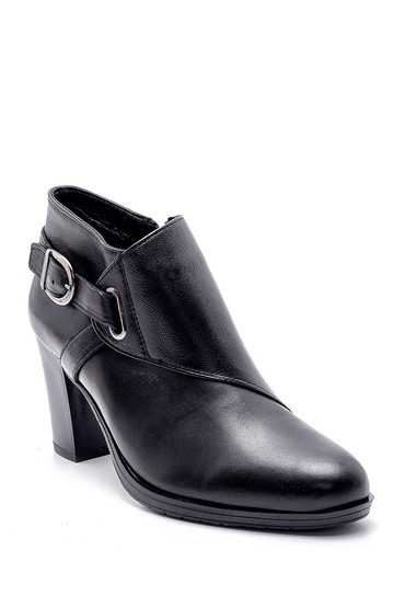 Siyah Kadın Deri Topuklu Bot 5638178133