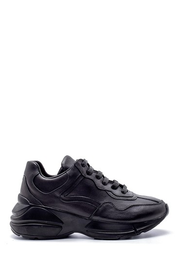 Siyah Kadın Deri Yüksek Tabanlı Sneaker 5638191959
