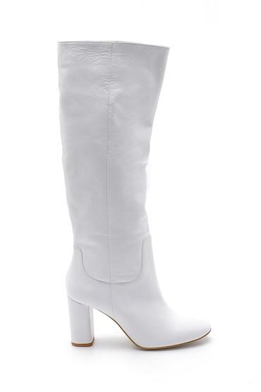 Beyaz Kadın Deri Topuklu Çizme 5638192071