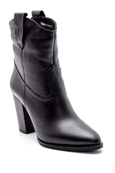 Siyah Kadın Deri Topuklu Bot 5638193973